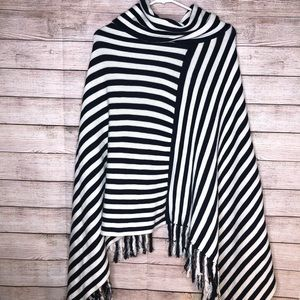 The Limited Navy Blue & White Striped Poncho Wrap